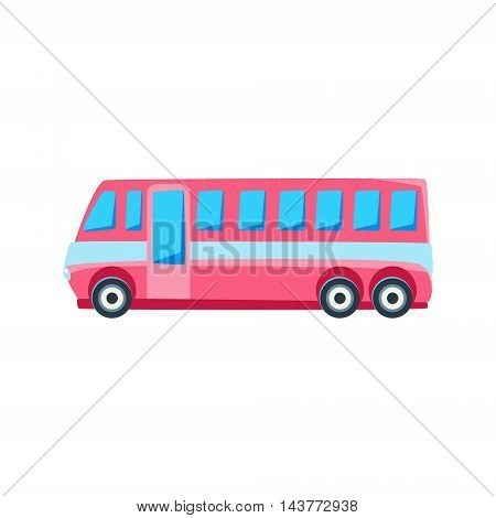 Pink Public Bus Toy Cute Car Icon. Flat Vector Transport Model Simple Illustration Isolated On White Background.
