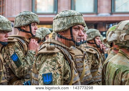 Kiev Ukraine - August 22 2016: Ukrainian soldiers at the military parade rehearsal for 25 years of Ukraine's independence in Kyiv Ukraine.