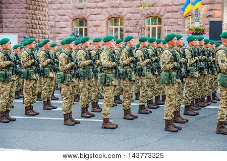 Kiev Ukraine - August 22 2016: Ukrainian soldiers at the military parade rehearsal for Independence Day on Khreshchatyk in Kiev Ukraine.