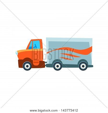 Long-Distance Cargo Truck Toy Cute Car Icon. Flat Vector Transport Model Simple Illustration Isolated On White Background.