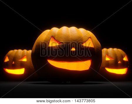 Helloween Pumpkin illuminated on black background. 3d render