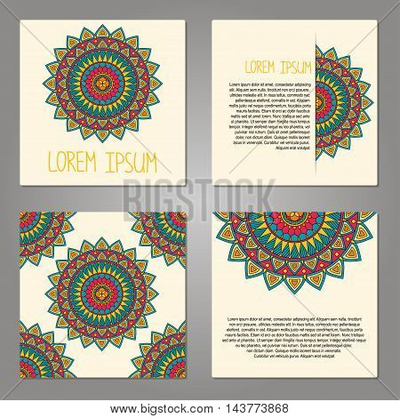 Set of cards with decorative elements, vector illustration