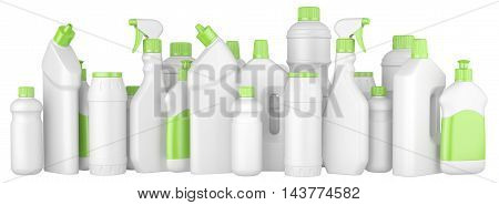Plastic detergent bottles with green caps in a row. 3d illustration on a white background.