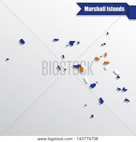 Marshall Islands map with flag inside and ribbon