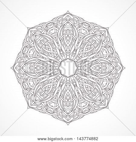 Mandala. Ethnic decorative elements Indian, Islam, arabic motifs. Round ornament with hand drawn vector pattern. Isolated on white delicate lace napkin