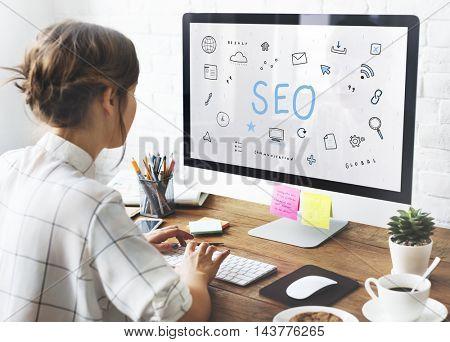 Webpage Browser Digital Icon Symbols Concept