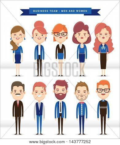 Set of 10 business people, men and women in cartoon character.