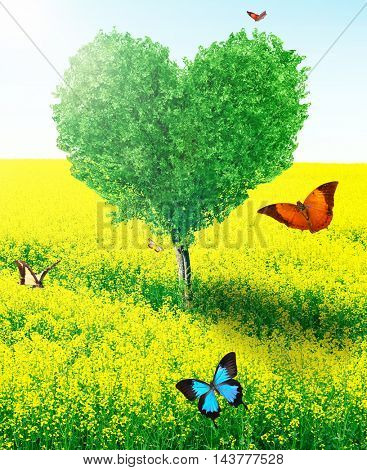 Beautiful field with heart shape tree and butterflies. Abstract landscape background.