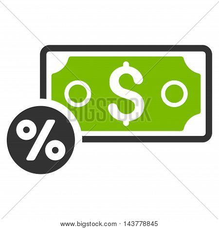 Banknote Percent icon. Vector style is bicolor flat iconic symbol with rounded angles, eco green and gray colors, white background.