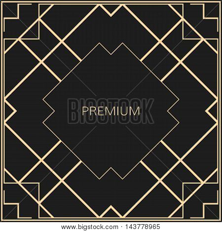Vector geometric frame in Art Deco style. Square vector abstract element for design.