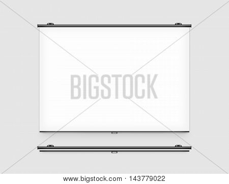 Blank projector screen mockup on the wall 3d illustration.