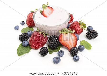 Yogurt and fresh juicy berries for a healthy breakfast