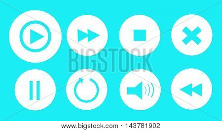 Abstract media player buttons set vector illustration