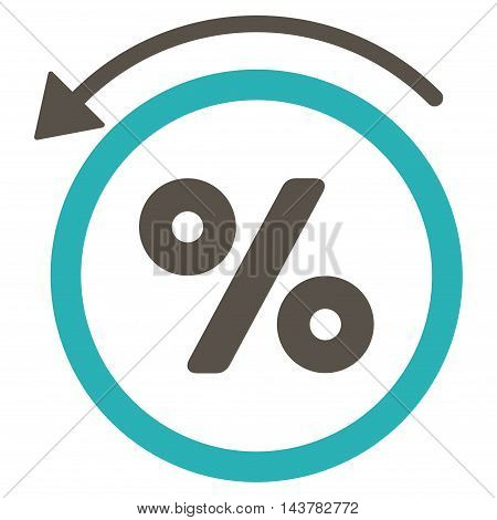 Rebate Percent icon. Vector style is bicolor flat iconic symbol with rounded angles, grey and cyan colors, white background.