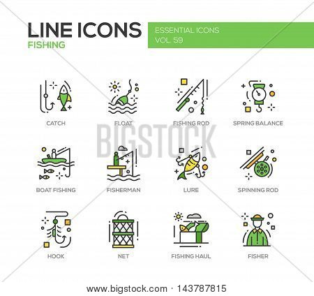 Fishing - modern vector line design icons and pictograms set. Catch, float, rod, spring balance, boat, fisherman, lure, spinning hook net haul