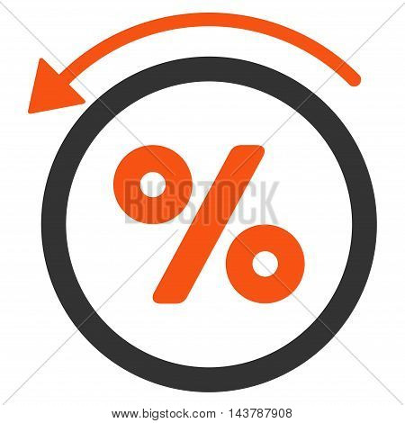 Rebate Percent icon. Vector style is bicolor flat iconic symbol with rounded angles, orange and gray colors, white background.