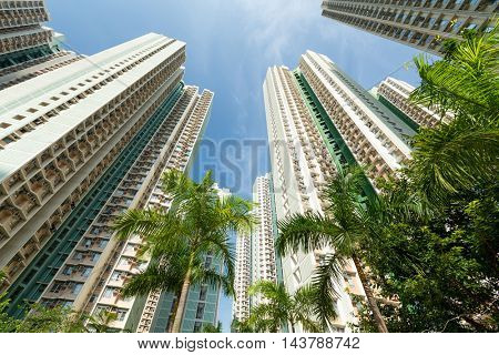 Building skyscraper from low angle