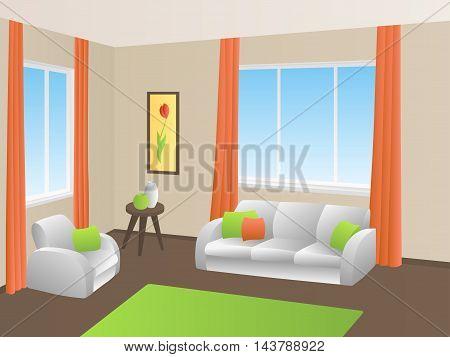Living room interior green orange yellow white sofa armchair window illustration vector