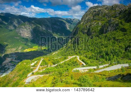 Dangerous road in Lysebotn near Stavanger Norway