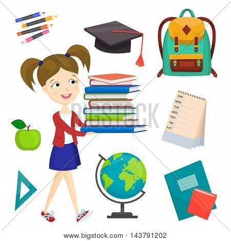 Back to school background cartoon vector illustration. Back to school concept. School girl with textbooks. School backpack. Elementary school.  School supplies.