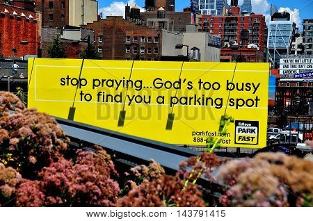 New York City - August 3 2013: Amusing parking lot sign on Tenth Avenue seen from the High Line Park in lower Manhattan *