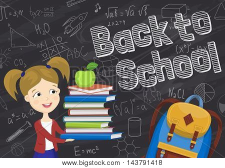Back to school background cartoon vector illustration. Back to school concept. School girl with textbooks. School backpack. Elementary school.
