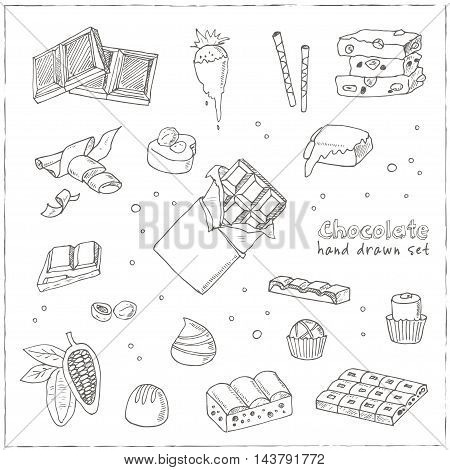 Vector Set of chocolate. Illustration for menus, recipes and packages product