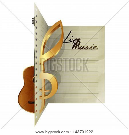 Paper leaf dissecting guitar and treble clef sign with live music. Isolated object on a white background you can use automatically pick up with any text or image there is a place for writing text.