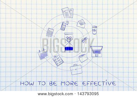 Hourglass With Melting Clock & Office Objects, Productivity Concept