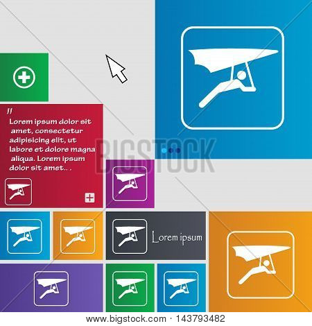 Hang-gliding Icon Sign. Buttons. Modern Interface Website Buttons With Cursor Pointer. Vector