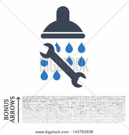 Shower Plumbing icon with 1200 bonus arrow and direction pictograms. Vector illustration style is flat iconic bicolor symbols, smooth blue colors, white background.