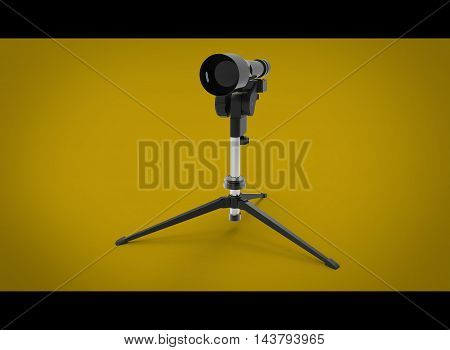 3d illustration of US Military M24 Sniper Spotter Scope. yellow background isolated. icon for game web. tool for army and soldiers.