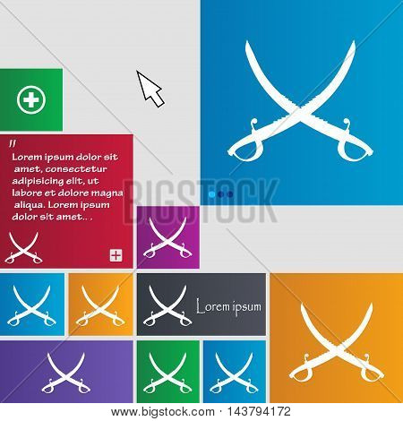 Crossed Saber Icon Sign. Buttons. Modern Interface Website Buttons With Cursor Pointer. Vector