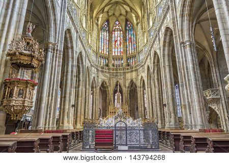 PRAGUE, CZECH REPUBLIC, JULY 7,2016:Interior detail from St. Vitus Cathedral, a Roman Catholic metropolitan cathedral in Prague, the seat of the Archbishop of Prague,inside Prague Castle Complex.