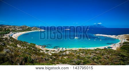 Beautiful Kriaritsi beach on the east coast of Sithonia on Halkidiki, Greece.