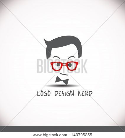 Creative logo nerd face hair glasses geek vector illustration for various business