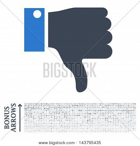 Thumb Down icon with 1200 bonus arrow and direction pictograms. Vector illustration style is flat iconic bicolor symbols, smooth blue colors, white background.