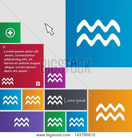 Aquarius Icon Sign. Buttons. Modern Interface Website Buttons With Cursor Pointer. Vector