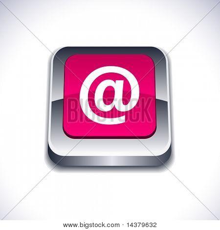 Arroba metallic 3d vibrant square icon.