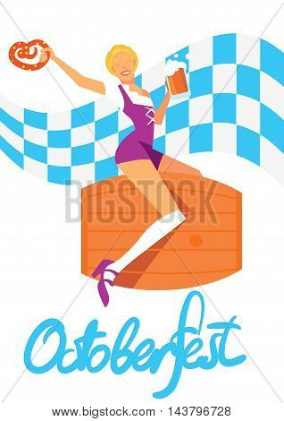 Oktoberfest girl in traditional dresses with beer isolated on white background. Autumn beer festival in Germany. Vector illustration. Oktoberfest concept. German Oktoberfest lettering. Oktoberfest cartoon character.