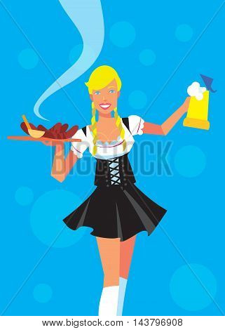Oktoberfest girl in traditional dresses with beer isolated on white background. Autumn beer festival in Germany. Vector illustration. Oktoberfest concept. German Oktoberfest people. Oktoberfest cartoon character. Beer stein.