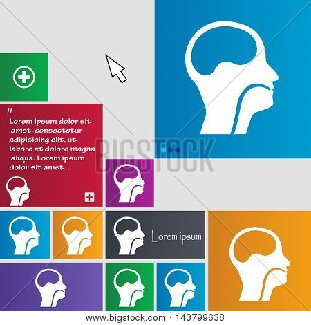 Larynx, Medical Doctors Otolaryngology Icon Sign. Buttons. Modern Interface Website Buttons With Cur