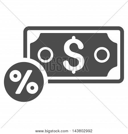Banknote Percent icon. Vector style is flat iconic symbol with rounded angles, gray color, white background.