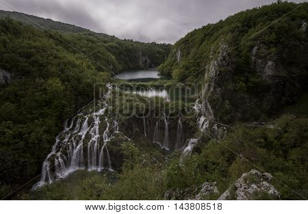Beautiful aerial view on Plitvice National Park waterfalls