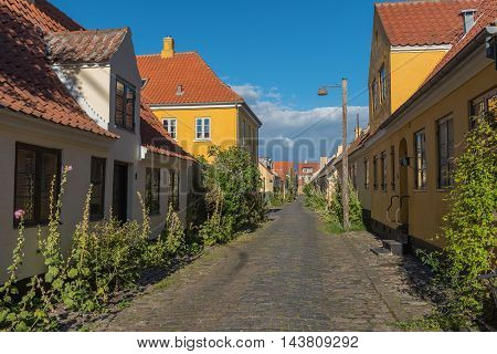 Yellow houses in the old town of Dragor in Denmark