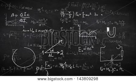 Background With Physical Formulas.