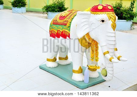 White Elephant Statue in the Temple Thailand Archetecture