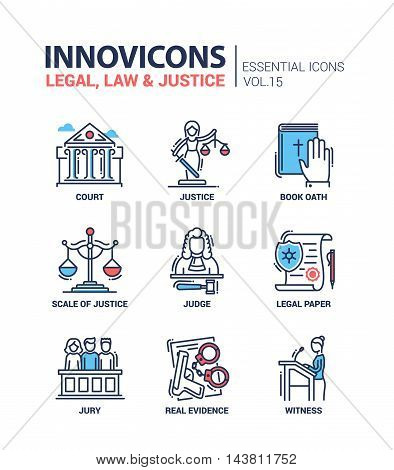Legal, law, justice - modern vector flat line design icons and pictograms set. Court, judge, legal document, book of oath, real evidence, jury, witness