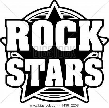 Rock stars black and white vector design.