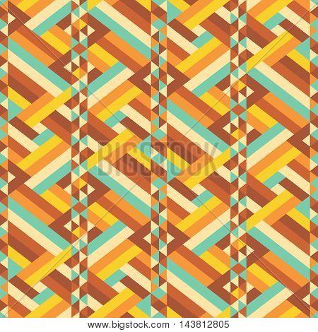 Vintage pattern. Retro colored zigzag geometric seamless ornament. Chevron repeatable background. Vector illustration.